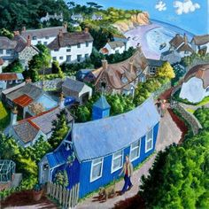 View the painting: Cornwall The Blue Tin Church Cadgwith by Francis Farmar John Galliano, Landscape Art, Landscape Paintings, Steve Madden, Places In England, Seaside Village, Political Art, Cornwall England, Naive Art