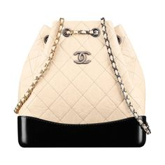 """CHANEL'S GABRIELLE BACKPACK by CHANEL. AGED CALFSKIN, SMOOTH CALFSKIN, SILVER-TONE & GOLD-TONE METAL. 9.1""""H x 9.1""""W x 4.5""""D. MADE IN ITALY."""