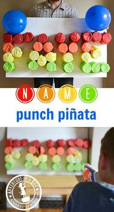 Having an ABC birthday party or celebrating the first birthday? Find out how to make this simple name punch pinata from cardboard rolls! Kids Party Games Indoor, Birthday Party Games Indoor, Abc Birthday Parties, 4th Birthday, Abc Party, Llama Birthday, 21st Party, Theme Parties, Luau Party