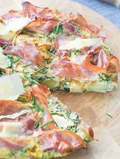 cheese, herb, prosciutto frittata