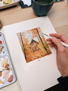 Imagine your own dream cabin in the woods and paint in into a cozy fall scene. This fantastic painting created by the artist Kim Everhard really captures the feeling of walking through a forest in the fall. Learn how to paint a cabin in the woods step by step with Kim's expert guide.