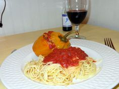Stuffed Peppers in Merlot Tomato Sauce with Pasta