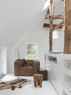 white, beams and old leather