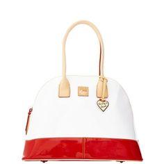 Red and white Dooney & Bourke satchel