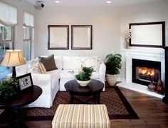 Family Room Decor Ideas i really like the fireplace being two different colors. something