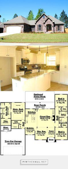 European Style House Plan - 3 Beds 2 Baths 1850 Sq/Ft Plan #430-81 - created via https://pinthemall.net