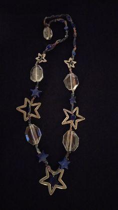 Lapis, crystal, silver, silk