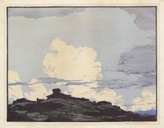 Laguna Skyline. [New Mexico.] By Norma Bassett Hall. Color woodblock, 1931. Signed and titled in pencil. From the Old Print Gallery