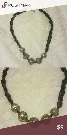 Black and Silver Necklace Black and Silver Beaded Necklace None Jewelry Necklaces