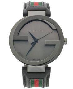 Gucci Watch, Unisex Swiss Interlocking Green and Red Striped Black Leather Strap 42mm YA133206 | macys.com