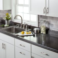VT Dimensions Formica Labrador Granite- Etchings Miter-Cut Laminate Kitchen Countertop at Lowe's. Enhance any space with dramatic look from VT Dimensions Barcelona Labrador Granite right miter laminate countertop. Right-hand miters are designed Painting Kitchen Countertops, Outdoor Kitchen Countertops, New Countertops, Countertop Materials, Lowes Laminate Countertops, Formica Kitchen Countertops, Basic Kitchen, New Kitchen, Kitchen Decor