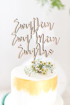 Cake Topper Holz Verheiratet Mit Banner Fraulein K Sagt Ja