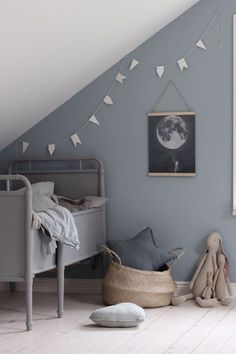 // THIS is a sheepish re-post for the super talented who was kind enough to send us this stunning bit of Scandi Kid's Room inspo + we shat on it with our bad cropping. Sorry Emily, we LOVE LOVE LOVE your work! And think you are so talented :) Team DS. Deco Kids, Grey Room, Grey Blue Nursery, Blue Grey, Kids Room Design, Kids Decor, Home Decor, Little Girl Rooms, Boy Rooms
