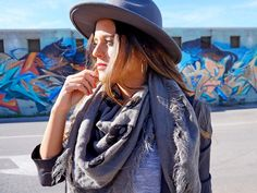 Front Low - Fashion blog: Shades of Grey look outfit details fedora hat fashion inspiration