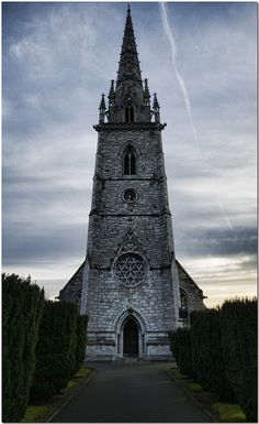 """Marble"" Church at Bodelwyddan in North Wales. Apparently, when this was built, the White Marble was wonderful in appearance. Weathering and acid rain have taken its toll. The cemetery here holds some interesting facts and is worth checking out. rjp"