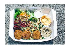 Vegan Lunching - my love for falafels!  Quinoa Citrus Salad with Avocado and Edamame  Recipe @ theglowwithin.com