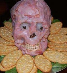 Made from a plastic skull, ham, a bit of olive oil (to keep the ham in place), onions for eyes.