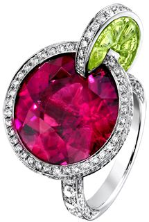 "This colorful ring is inspired by the ""Watermelon Dream"" cocktail. The watermelon juice is a rubellite, while the fresh mint leaves are emeralds studded with diamonds."