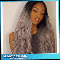 43.00$  Watch here - http://aliaa3.worldwells.pw/go.php?t=32712086342 - 2 Tones 14-26inch Synthetic Lace Front Wig Gray Grey Silver Ombre Wavy Wigs Dark Roots Heat Resistant Fiber Hair
