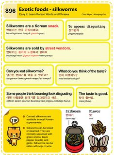 Easy to Learn Korean 896 - Exotic Foods - Silkworms. Chad Meyer and Moon-Jung Kim EasytoLearnKorean.com An Illustrated Guide to Korean