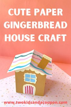 Create a cute paper Gingerbread House Craft with your kids without the mess of frosting or baking. Here's how to make this fun paper craft for kids!
