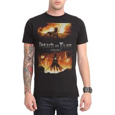 Attack On Titan Fire T-Shirt Hot Topic (130 VEF) ❤ liked on Polyvore featuring tops and t-shirts