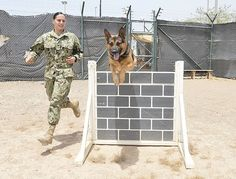 Master at Arms 2nd Class Amber Boyd runs an obstacle with Military Working Dog (MWD) Omar.
