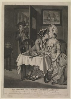 This 18th century caricature shows a sailor having a meal with a young woman. The scene seems innocent enough until the viewer notices that he is actually conducting a business transaction; presenting coins in return for her sexual favours.  10 November 1777; John Collet