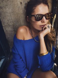 chunky blue sweater