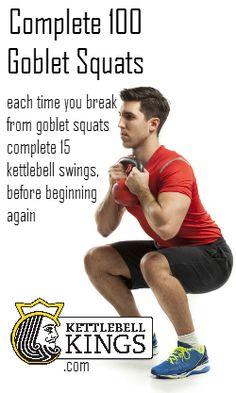 100 goblet squats, 15 KB swings every squat break
