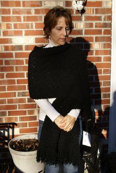 Handmade Wrap Black Boucle Fringed Shawl Hand Knit