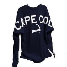 Bestseller! Cape Cod Spirit Shirt - Navy long sleeve with bold Cape Cod and map across the back shoulders.