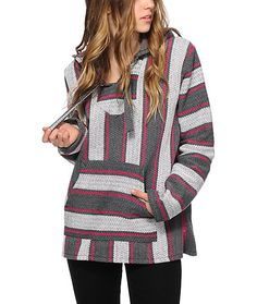 Add some Mexi-inspired style to any outfit with this graphite, white and fuchsia stripe hooded poncho that is made from recycled tees.