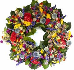 Hot Summer Garden Wreath - 20 Inch Without A Wreath Hanger by Curious Country Creations Silk Flower Wreaths, Fall Mesh Wreaths, Silk Flowers, Dried Flowers, Floral Wreaths, Globe Amaranth, Wreath Hanger, Summer Garden, Summer Wreath