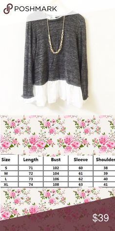"""Pretty grey light sweater Pretty Grey light sweaterBoutique Super pretty and smooth. The measurement (cm) in the third pic. I am size S to M, more M, 5'3"""" and 126lbs, trying a M, fitting like the modeler in the first two pics. Material: 90% cotton and 10% spandex. NWOT CATEGORY Sweaters"""