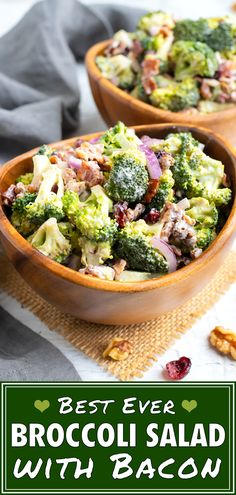 This Easy Broccoli Salad recipe is loaded with crispy bacon, sweet cranberries, walnuts and tossed in a delightful mayonnaise-yogurt dressing. Healthy Picnic, Picnic Foods, Healthy Summer, Easy Salad Recipes, Healthy Recipes, Meal Recipes, Chef Recipes, Lunch Recipes, Healthy Food