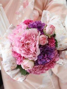 えにし屋 ピンク+パープル「淡色帯ブーケ」