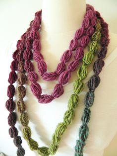 Pompom Scarf Crochet Lariat Necklace Neckwarmer by TrendyKnitz, $19.99