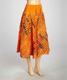 This Orange & Green Tie-Dye Skirt by Luna Luz is perfect! #zulilyfinds