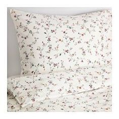 IKEA - LJUSÖGA, Duvet cover and pillowcase(s), Full/Queen (Double/Queen), , Cotton feels soft and nice against your skin.Concealed snaps keep the duvet in place.