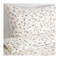 IKEA - LJUSÖGA, Bettwäscheset, 2-teilig, 140x200/80x80 cm, , Baumwolle ist hautsympathisch und weich.Verdeckte Druckknöpfe am Bezug verhindern, dass die Decke herausrutscht.