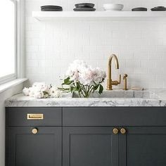 Dark Grey Cabinets Dark Gray Kitchen Cabinets Accented With Aged Brass Knobs Vintage Brass Inset Pulls And Dark Grey Kitchen Cabinets With White Appliances Kitchen Remodel, Dark Grey Kitchen, New Kitchen, Kitchen Marble, Grey Kitchen, White Marble Countertops, Kitchen Interior, Grey Kitchens, Dark Grey Kitchen Cabinets