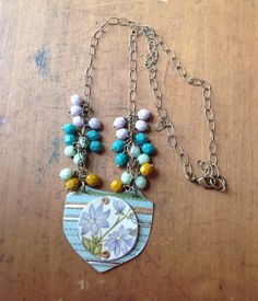 Shield vintage tin floral necklace on Etsy, $34.00