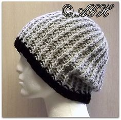 "Men's Ribbed Beanie - free crochet pattern by ag handmades. Up to 201m aran weight yarn, 5.5mm hook. 11"" long for slouching or turn up. 22""-24"" circumference."