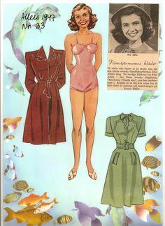 Danish paper doll of Elsie Albiin 1947, Swedish actress. / dukkesiderne.dk