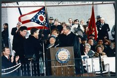 Ohio University Libraries; Voinovich Collections | Governor George Voinovich on stage during his inauguration, January 15, 1991