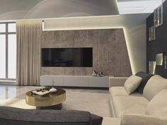 This contemporary private villa interior is a project designed by Russian architect Shamsudin Kerimov and covers an area of 310 sqm. Photos by Shamsudin KerimovHouse in Moscow by Shamsudin Kerimov « HomeAdore Living Room Modern, Living Room Interior, Tv Wall Design, House Design, Decor Interior Design, Modern Interior, Deco Tv, Living Room Tv Unit Designs, Halls