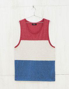 Mixed stripes tank top - T-shirts - Bershka United Kingdom Mens Sleeveless Shirts, Tanks, Tank Tops, Beach Tops, Striped Tank Top, Tank Man, Shirt Designs, T Shirt, Menswear