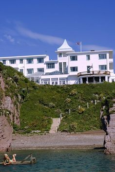 Burgh Island Hotel, South Devon. Eccentric art deco hotel, set on its own island linked to the mainland by a tidal causeway.