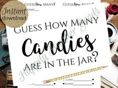 ~Bridal Shower Game~ How Many Candies – have fun with this passive game where guests have to guess the number of candies in the container of your choice! This game template is an ~instant download~ which means you can easily download and print the template as many times as you Simple Bridal Shower, Bridal Shower Games, Diy Games, Candies, Container, Jar, Templates, Times, Number